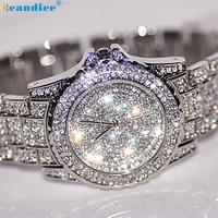 Splendid Luxury Female Clock Women Watches Rhinestone Ceramic Crystal Quartz Watches Lady Dress Watch