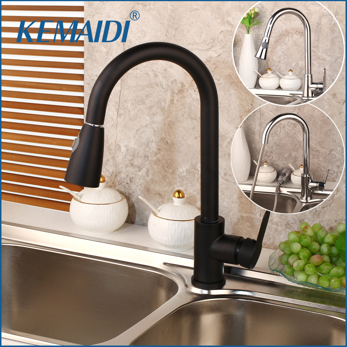 360 Swivel Kitchen Faucet Pull Out Chrome Polished Black Nickel Brush Basin Faucet Stream Spray Water