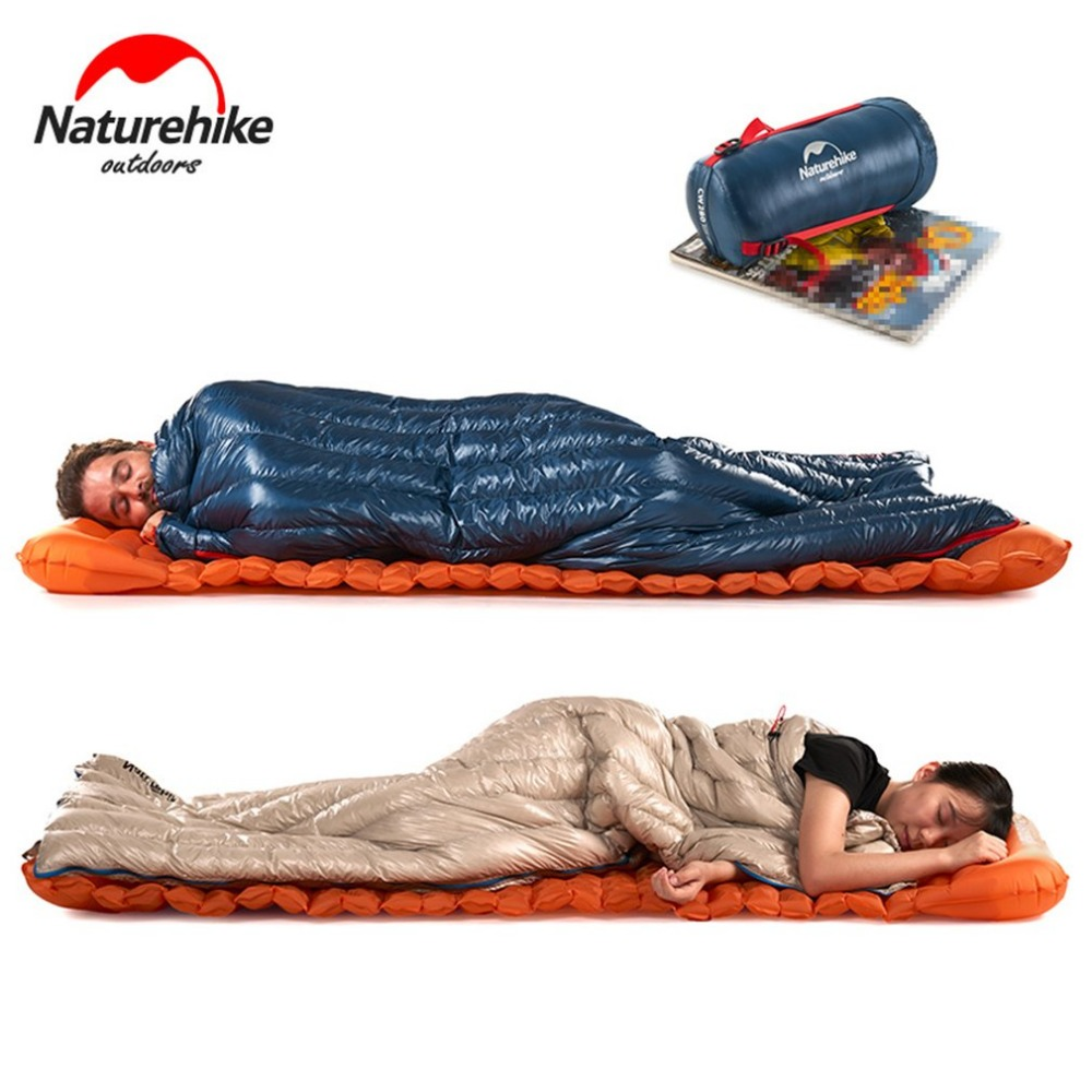 Naturehike New Waterproof Thicken Goose Down Square Sleeping Bag Outdoor Hiking Camping Envelope Style Ultra Light Sleeping Bag стоимость