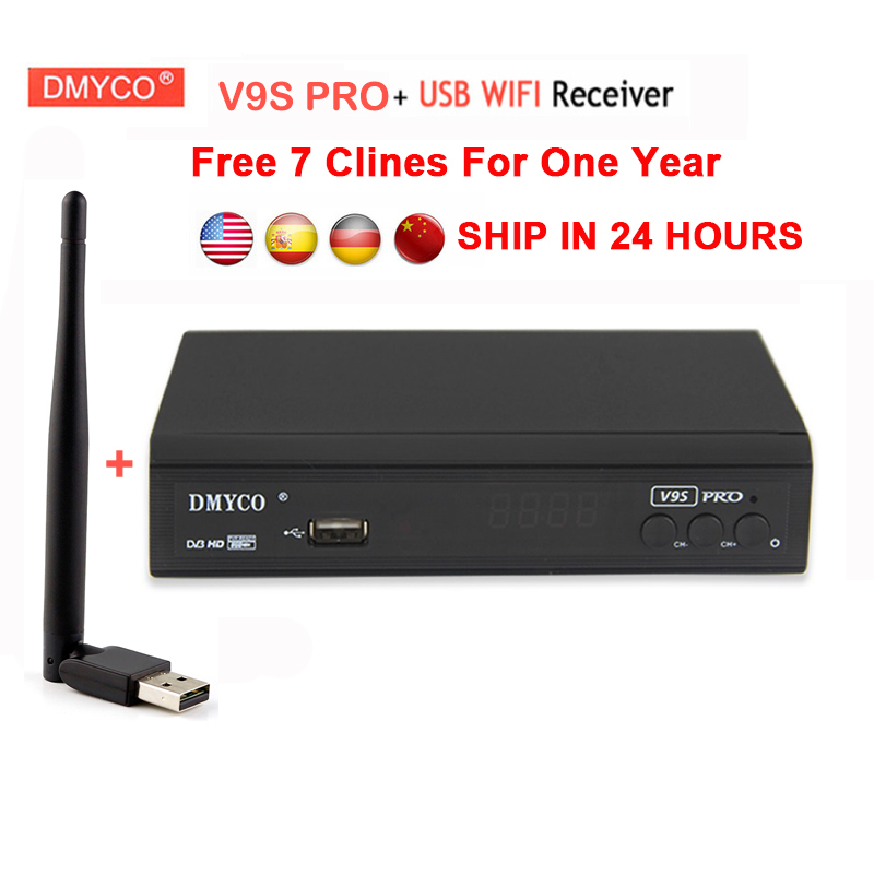 7 clines for 1 year europe spain portugal V9S PRO DVB-S2 Satellite Receiver+usb wifi Full 1080P HD FTA lnb dvb s2 V9S Tv Recetor