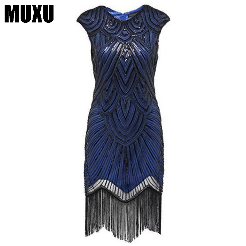 MUXU robe femme ete 2018 vintage embroidery sequin patchwork fringe dress vestidos jurken glitter fashion  women party dresses