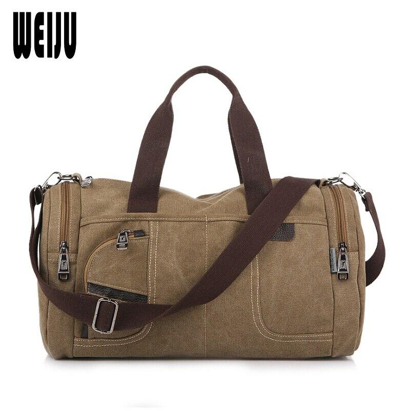 WEIJU Man Large Capacity Travel Bag Canvas Duffle Bag Casual Shoulder Messenger Bags Women Hand Travel Bags YR0283