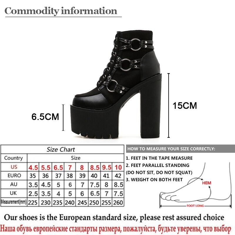 Gdgydh 2019 nouvelle mode bottes de moto Femmes talons à plateforme chaussures décontractées Laçage chaussures bout arrondi Dames Automne Bottes Noir - 6