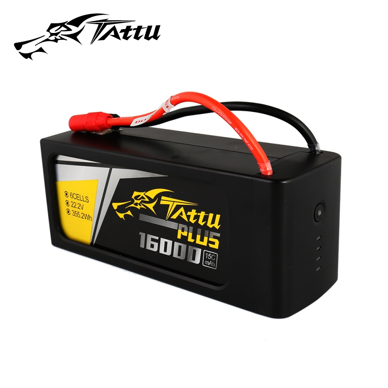 TATTU 16000 mah Lipo Batterie 4 s 6 s 15C Max 30C 14.8 v 22.2 v 22.8 v Batteria Pack per Quadapter UAV Drone Formato Lungo Tattu Più