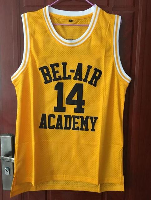 e3f58e986658 will smith 14 basketball jersey bel air academy stitched sewn yellow drop  shipping