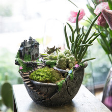 Fairy Garden Miniature Broken Pot Flower Pot Villa House on the Cliff Sky Castle Sculpture Planter Grey Garden Resin Flowerpot