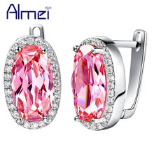 Almei Pendientes Rainbow Stud Earring for Women Pink Earrings Silver Color Jewelry Oval Crystal Fashion Brincos Vintage R720(China)