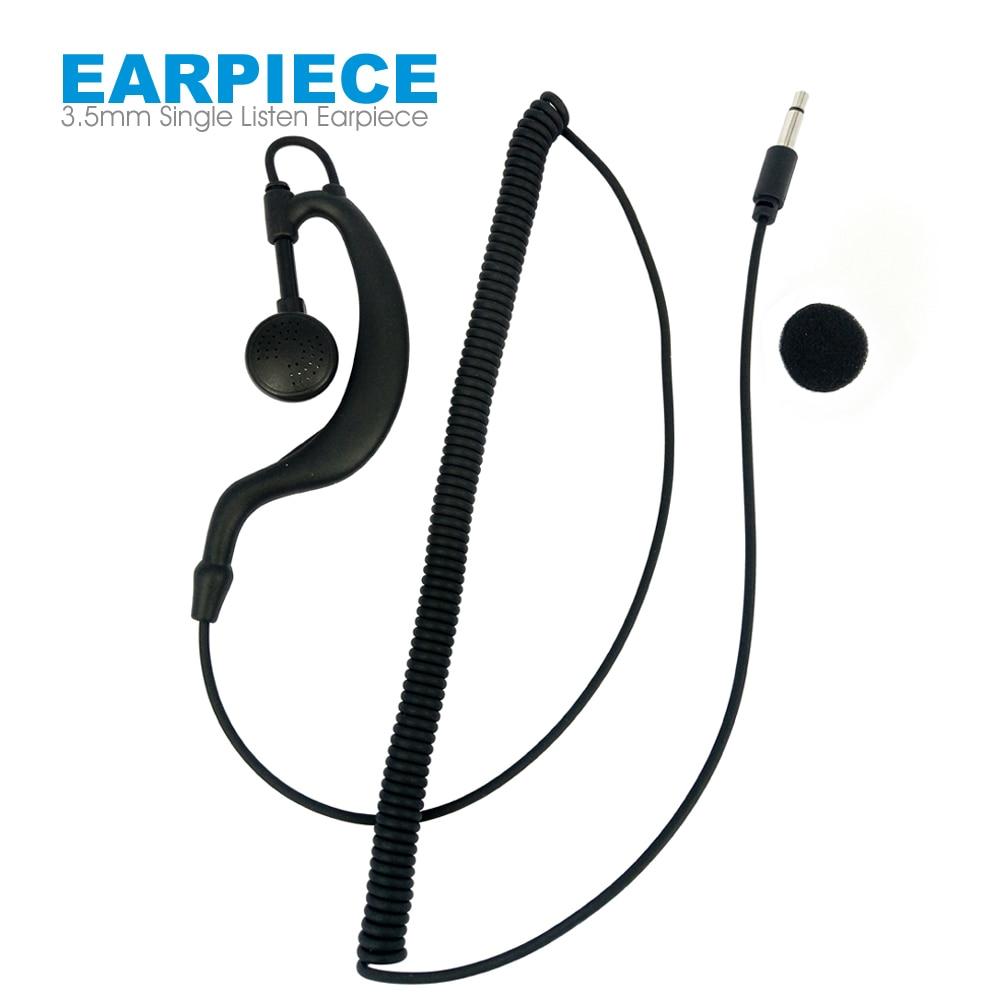 3.5mm Single Listen Earpiece Headset For Walkie Talkie Speaker Mic Single Ear Hanging Earphone Compatible Radio MP4 MP3