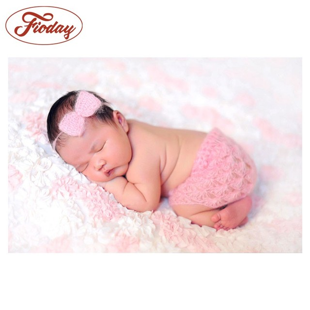 2018 hot sale funny soft crochet newborn photography props costumes headbands bow pants 2pcs set