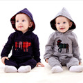 Spring Autumn Infant Clothing Baby Romper Jumpsuit Hooded Climb Clothes British Style Hooded Baby Rompers H0084