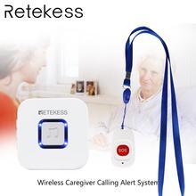 Retekess bakım ev çağrı sistemi acil çağrı cihazı Kablosuz Kapı Zili Alıcı ve SOS Bir Düğme Çağrı yaşlı hasta için