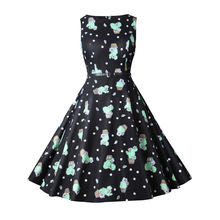 vintage Christmas party dresses spring mamaan style fashion print cactus o-neck a-line knee length female