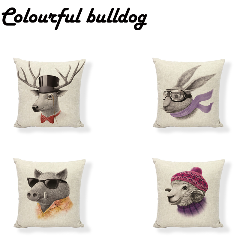 Wholesale 17 Inch Lovely Animal Cushion Cover Sheep Rabbit Hat Bird Glasses Bow Tie Home Sofa Car Seat Decor Throw Pillowcase