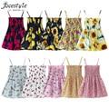 Summer Children Dress Kids Girls Sleeveless Flower Print Dress Soft Cotton Princess Dresses Girl Clothes Floral Backless Dress