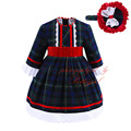 Pettigirl Newest Girls Autumn Dresses Dark Green Plaid Dress With Hat High Quality Bontique Children Clothing G-DMGD908-913