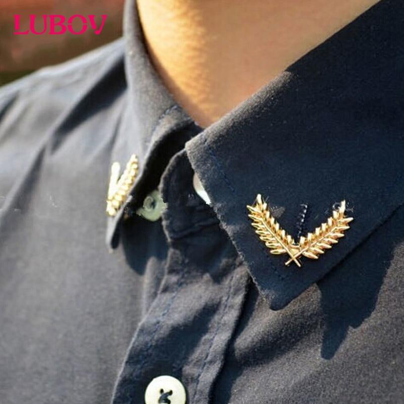 1x Korean Shirt Suit Collar Pin Retro Antique Metal Grain Couples Brooch Elegant Costume Jewelry for Women Christmas Gifts