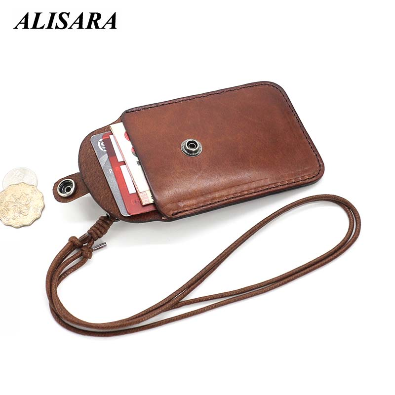 Alisara Top Cowhide ID Badge Holder Retractable Lanyard Name Tag Id Card Vertical Style ID Credit Card Vintage Business Case