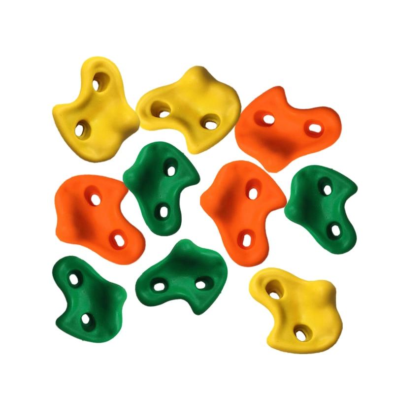 10 pçs/set Plástico Parede de Escalada De Rocha Pedras de Cores Sortidas para Crianças Parede de Escalada Pedras Pés Mão Prende Aperto Kits