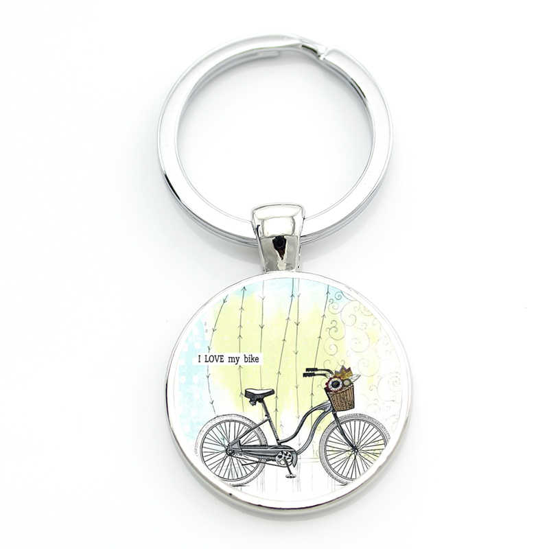 JWEIJIAO جديد الحفاظ على الهدوء والحب الدراجات المفاتيح ركوب دراجة دراجة المتحدث عادية نمط النساء الرجال مفتاح سلسلة حلقة حامل SP443