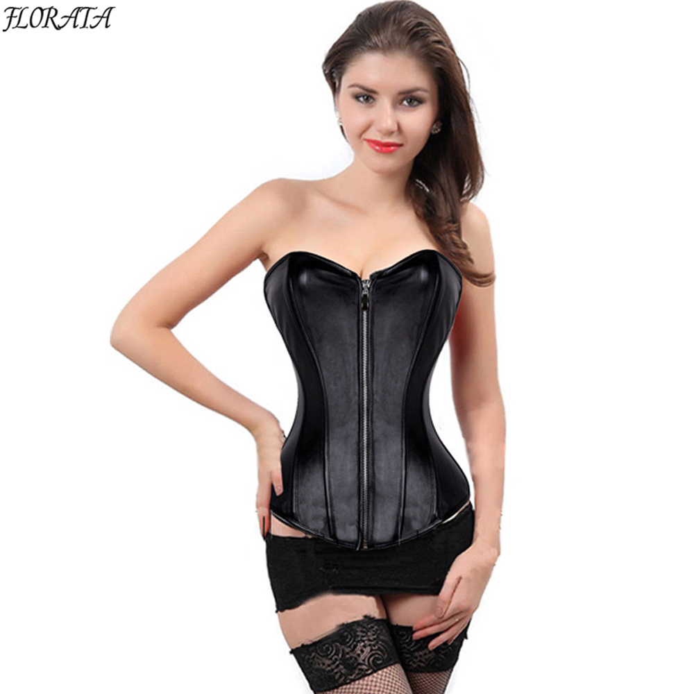 1d9573358eda96 Florata New Sexy Black Red Steampunk Corsets Bustiers Faux Leather Zip  Corset Overbust Bustier Top ...