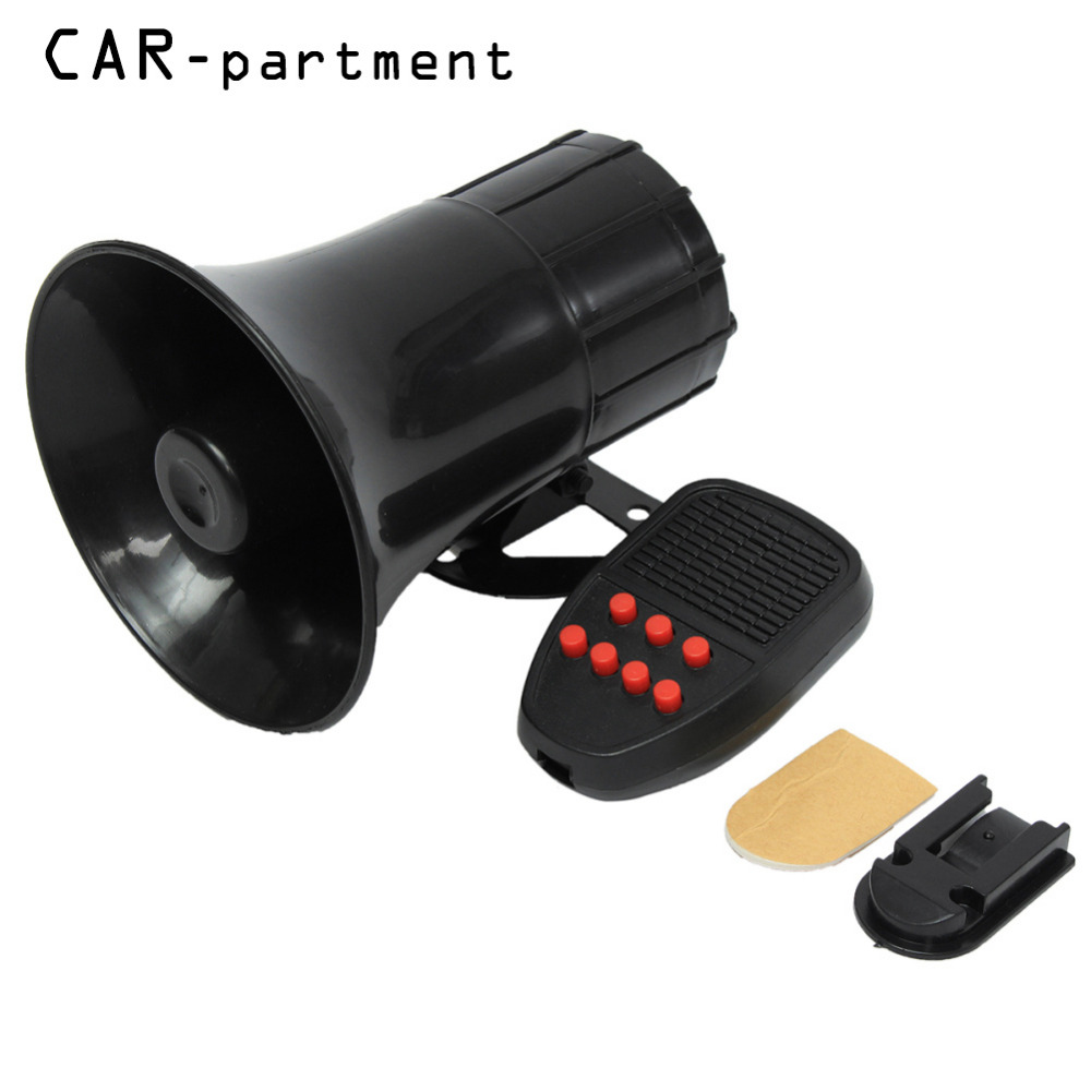 AU 7-Sound 12V Durable Car Security Warning Alarm Speaker Police Fire Loud Siren Horn PA 50W 150DB Largely Compatible XNC