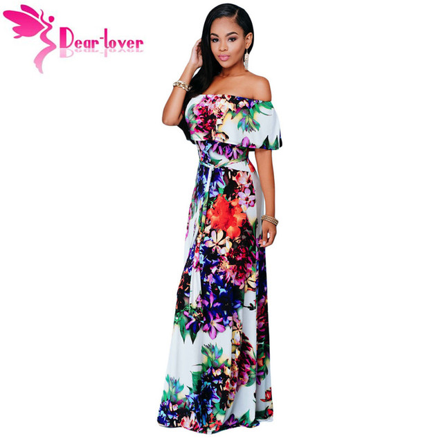 Dear Lover Summer Dresses Party Gowns Sexy Womens Multi-color Floral Print  Off-the-shoulder Maxi Dress Vestidos Largo LC61263 b89a10ea7