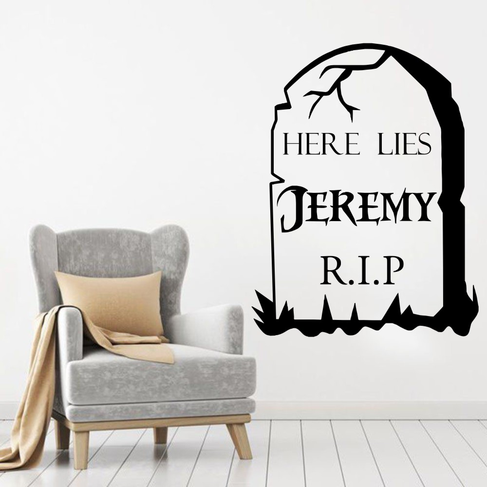 YOYOYU Personalised Tombstone Halloween Vinyl Wall Art Sticker Decal Mural Home Decor Living Room Hallway wall stickers
