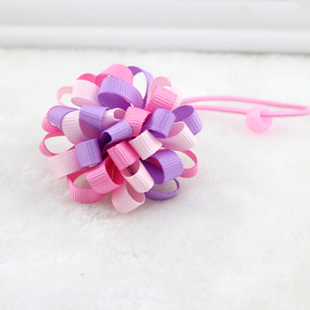 1Pcs 8cm Kids Headband Hair Rope Loopy Puffs Ribbon Hair Bow Alligator  Headwear Hair Accessories Random Color 448b31569e2