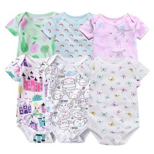 6pcs Baby rompers 100% Cotton Infant Body Short Sleeve Clothing baby Jumpsuit Cartoon Printed Boy Girl clothes