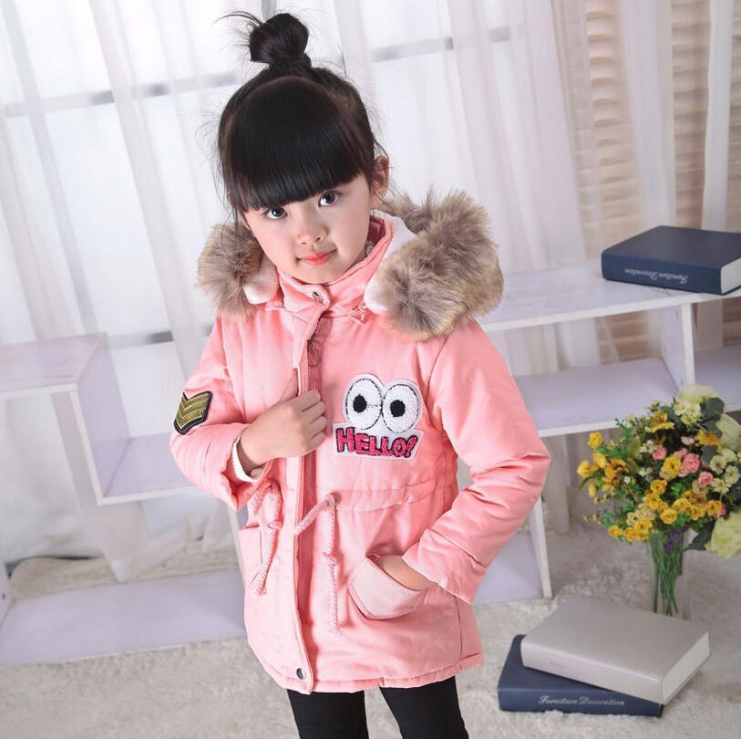 Új szép gyerekek lányok téli kabát nyomtatás kis pöttyös - Gyermekruházat