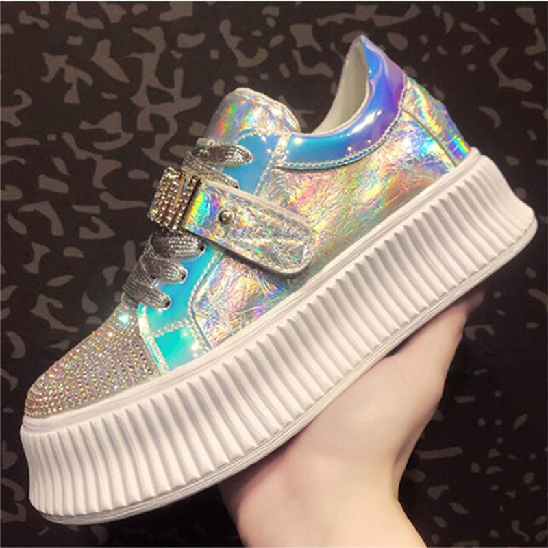 Female Daddy Shoe New Womens Platform Designer Sneakers Thickness sole 6CM Laser Sequin Casual Sneaker Walking Shoe X2-11Female Daddy Shoe New Womens Platform Designer Sneakers Thickness sole 6CM Laser Sequin Casual Sneaker Walking Shoe X2-11