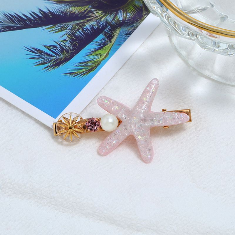 Summer Ocean Style Hair Alligator Clips Shimmer Resin Starfish Imitation Pearl Hairpin Women Girls Vacation Side Bangs Barrettes in Women 39 s Hair Accessories from Apparel Accessories