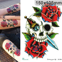 Body Art Punk Waterproof Temporary Tattoos For Men And Women Skull Red Rose Design Large Arm Tattoo Sticker SC2904
