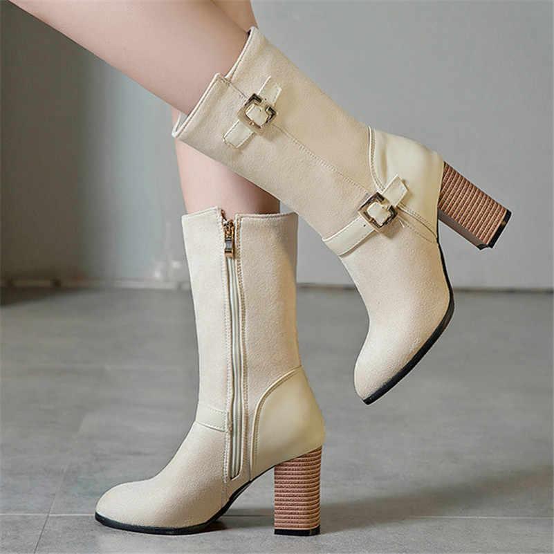 FEDONAS 2019 Yeni Varış Sıcak Sonbahar Kış Kadın Katı Akın Orta buzağı Çizmeler Sivri Burun Kare Yüksek Topuklu moda ayakkabılar kadın