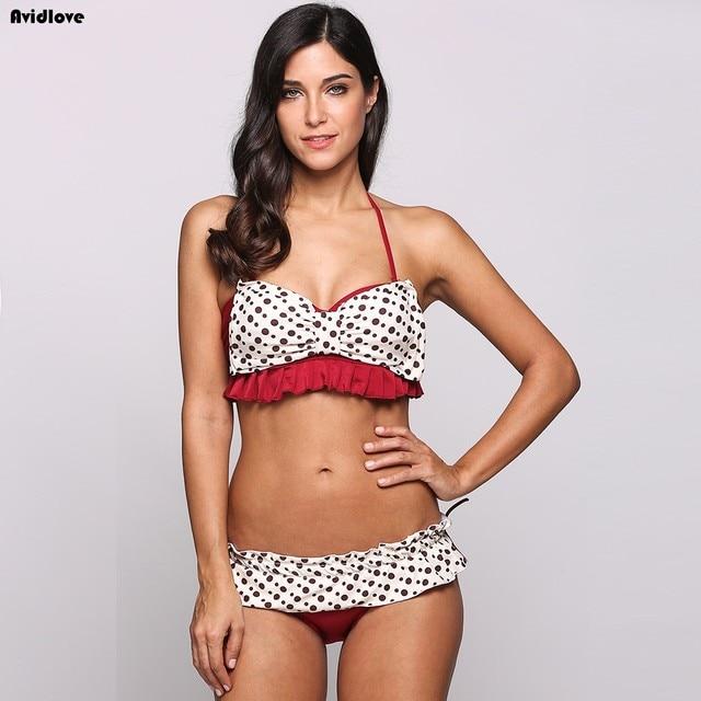 f9706b35169f2 Avidlove New Bikini swimsuit women sexy Halter Polka Dot Bow Knot Ruffle  two Piece Bikini Set Swimwear Beachwear Bathing suit