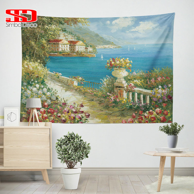 Colorful Enchanted Garden Tapestry Landscape Wall Hanging Beach Towel Yoga  Mats Printing Scenic Farmhouse Decor Psychedelic