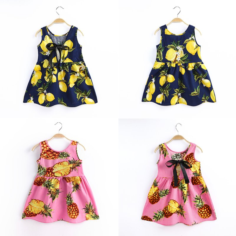 2018 Children Kids Girl Summer Dress Kids Teens Sleeveless Bow Print Pattern Cotton Dresses Infant Girl Dresses For Princess Bir бутылка emsa teens birdy bow 514411