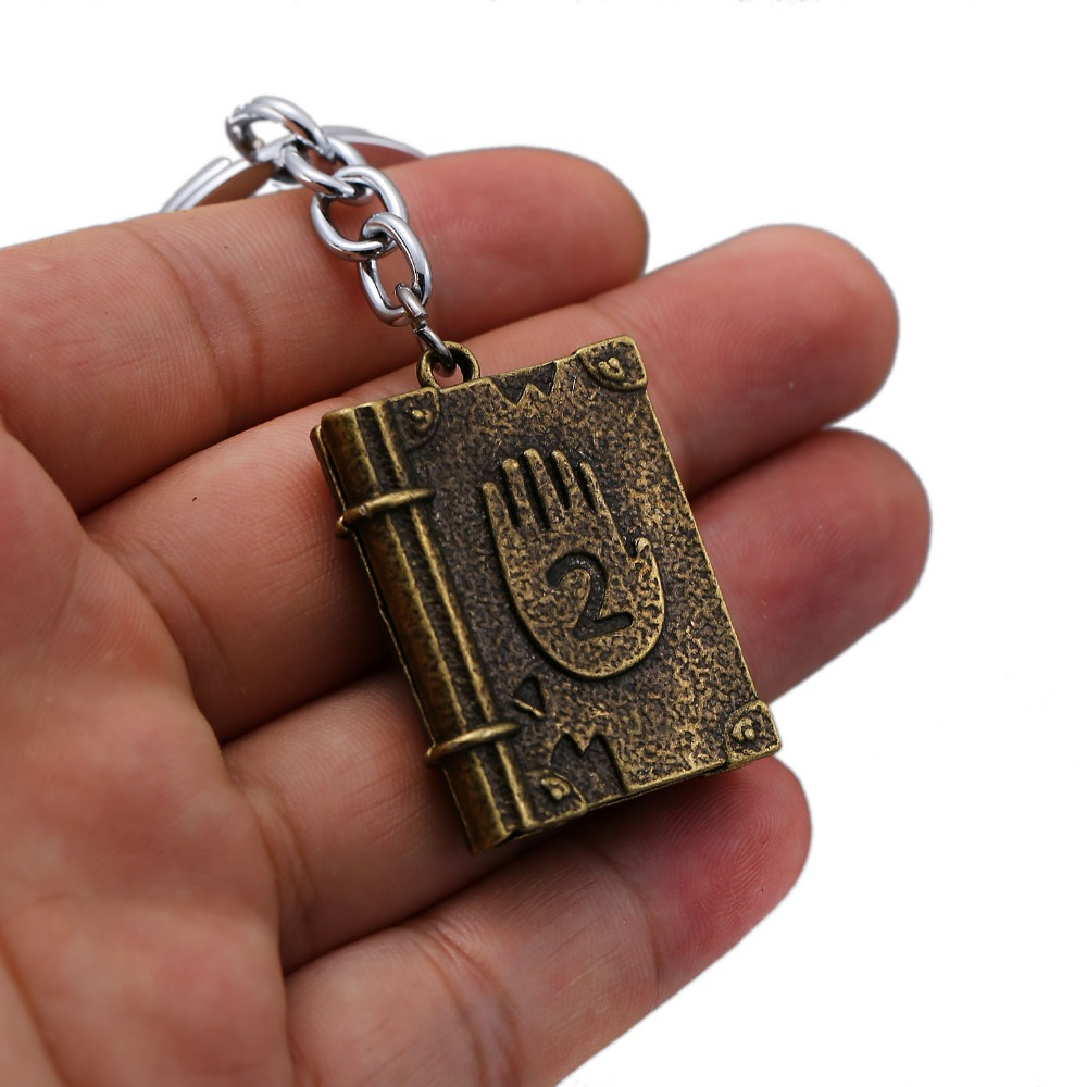 HSIC 20pcs lot Wholesale Gravity Falls Journal3 keychain Diepsloot Diary LOGO Alloly keyring Hard Back Key