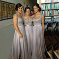 elegant custom mand chiffon long Bridesmaid Dresses 2016 scoop beaded appliques lace women formal guest dress for wedding party