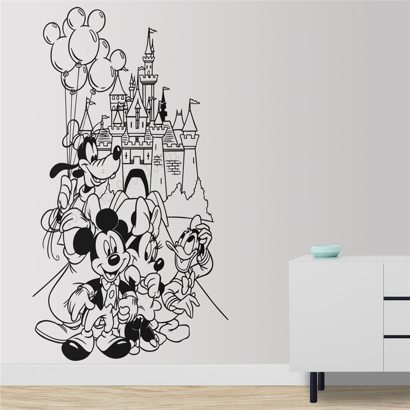 Wall Art Sticker Mouse Family Palace Room Decoration Vinyl Removeable Poster Cute Cartoom Mural Animal Ornament LY476 in Wall Stickers from Home Garden