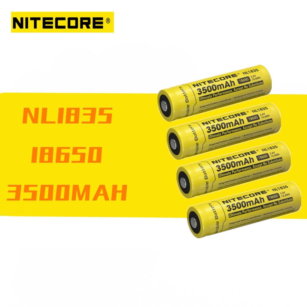 4 pcs Nitecore NL1835 18650 3500mAh new version of NL1834 3 7V 12 6Wh Rechargeable Li