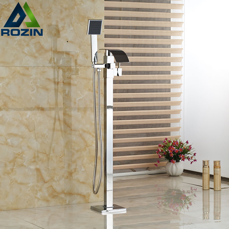 Free Standing Bathtub Floor Mounted Faucet Tap Set & Hand Shower Bath Waterfall Spout Chrome Finish wholesale and retail deck mounted waterfall bathtub faucet chrome finish bath spray w hand shower