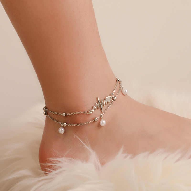 シンプルな心電図アンクレット素足かぎ針編みサンダルフットジュエリー脚新アンクレットに足足首女性のための cavigliera