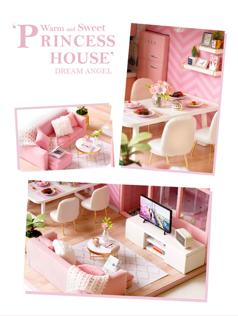 living room of the pink doll house sofa, tv, chair, flowers