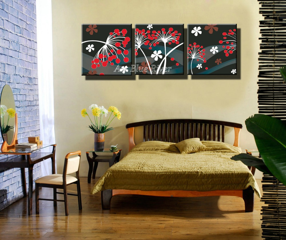 3 piece cheap HD Picture Prints wall art Modern abstract bedroom red ...