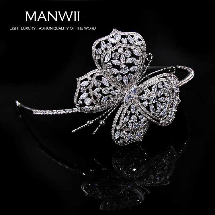 MANWII Luxurious Shining AAA Cubic Zirconia Crowns Butterfly Tiaras Bride Headdress Trendy Wedding Hair Accessories HA20037 00009 red gold bride wedding hair tiaras ancient chinese empress hair piece