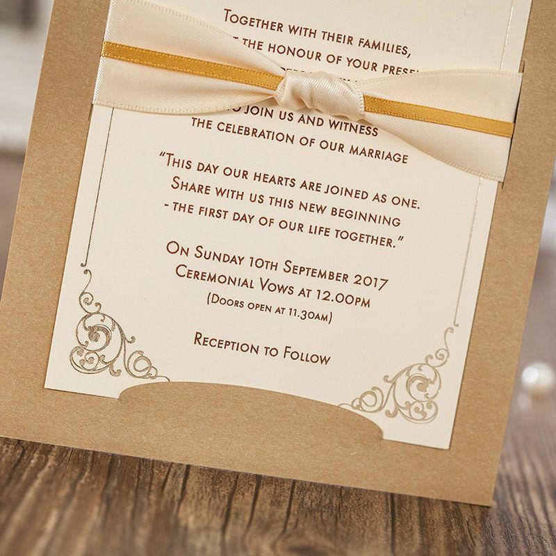 30pcs/lot Vintage Ribbon Bow Wedding Invitations Cards Elegant