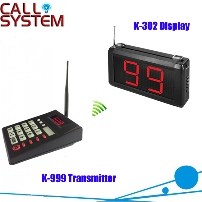 Restaurant Kitchen Call System K-999+302 with 1 pcs Keypad and 1 pcs Display showing 2 digit number kitchen call waiter system with 1 pcs keypad and 1 pcs 3 digit number display for restaurant equipment