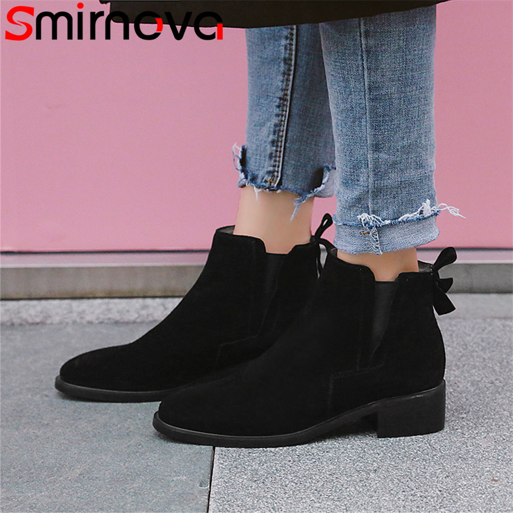 Smirnova 2018 autumn winter new shoes woman square toe classic women boots suede leather low heels shoes black ankle boots autumn and winter new leather shoes with leather boots and boots with flat boots british classic classic hot wild casual shoes