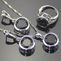925 Sterling Silver Black Created Sapphire Jewelry Sets For Women Round 925 Silver Pendant Necklace Earrings Rings Free Gift Box